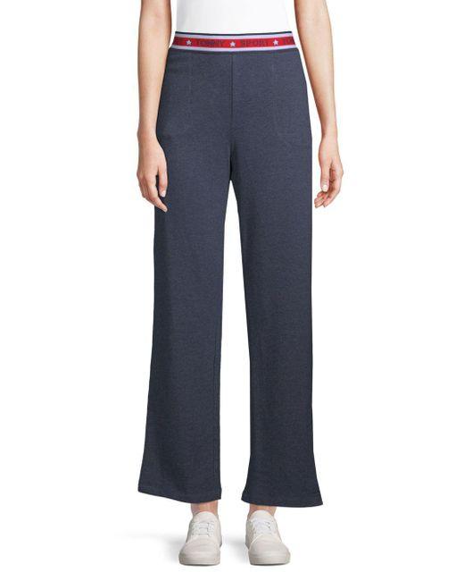 a6966ae956941 Tommy Hilfiger - Blue Logo Waist Wide-leg Pants - Lyst ...