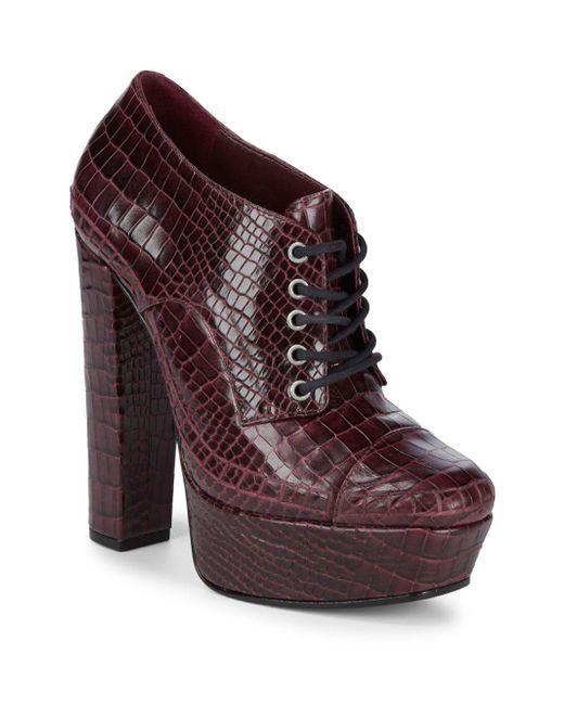 Schutz - Purple Katrine Embossed Leather Booties - Lyst