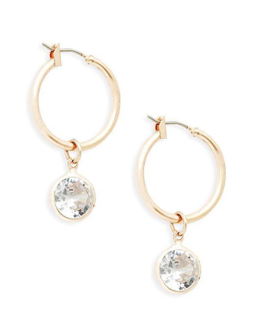 Ava & Aiden - Metallic Goldtone Crystal Hoop Drop Earrings - Lyst