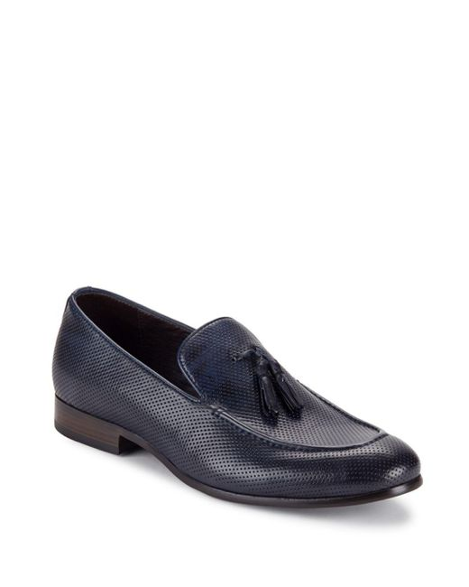 Saks Fifth Avenue - Blue Lawson Perforated Tassel Loafers for Men - Lyst