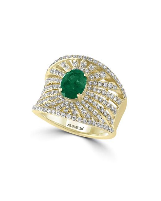Effy - Diamond, Emerald & 14k Yellow Gold Ring - Lyst