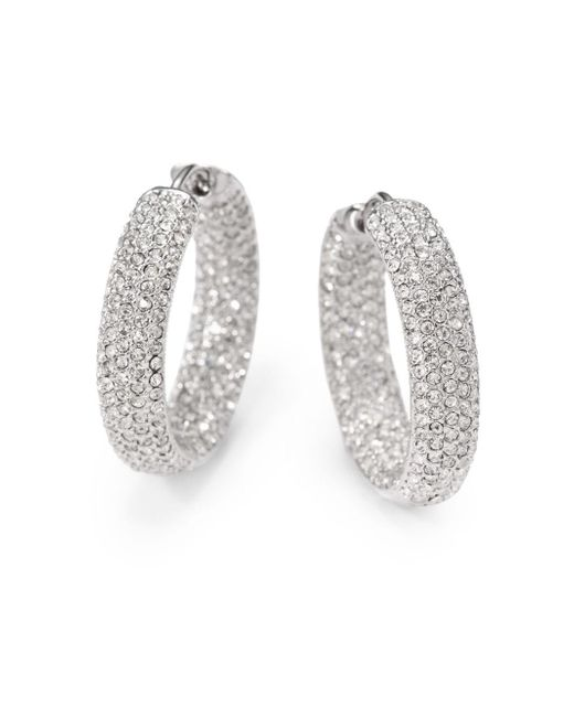 "Adriana Orsini | Metallic Pavà Crystal Rhodium-plated Inside-outside Hoop Earrings/0.75"" | Lyst"