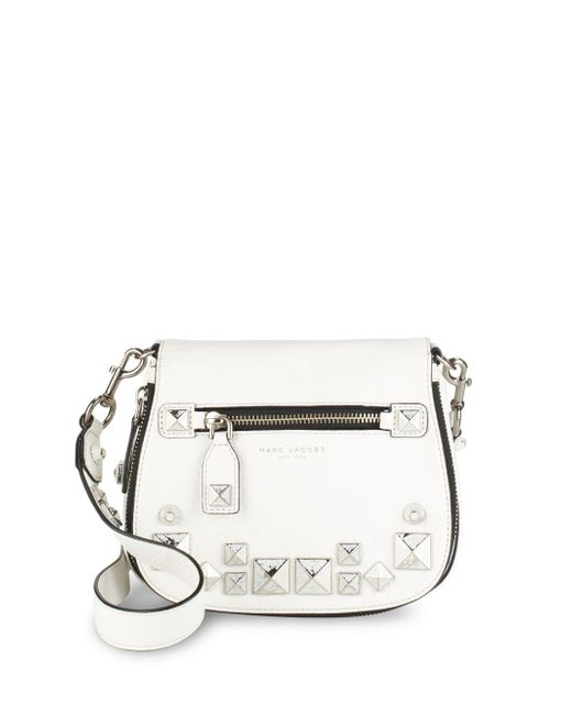 Marc By Marc Jacobs | White Recruit Small Chipped Studs Leather Saddle Crossbody Bag | Lyst