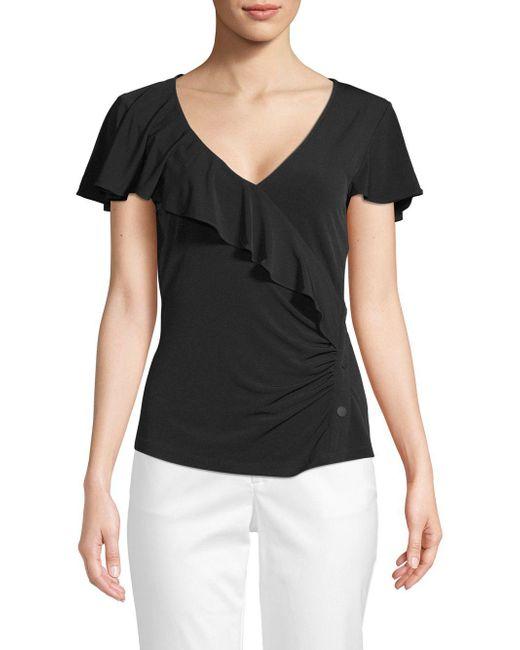 Laundry by Shelli Segal - Black Short Sleeve V-neck Ruffle Top - Lyst