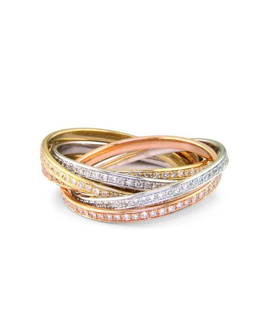 Effy - Metallic Tri-color 14 Kt. Gold Diamond Bands, Set Of 6 - Lyst