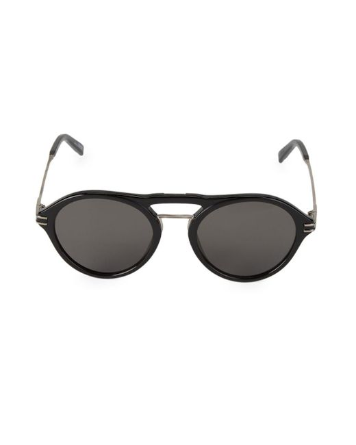 4709cef660 Montblanc - Black 52mm Round Rimmed Sunglasses for Men - Lyst ...