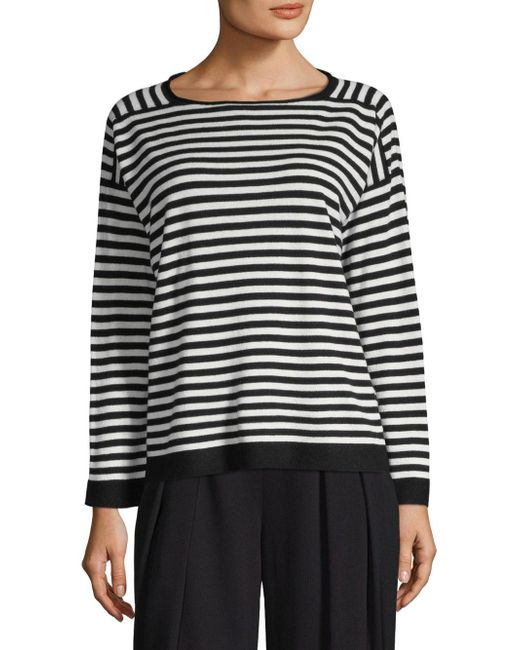 Eileen Fisher - Black Cashmere Stripe Sweater - Lyst