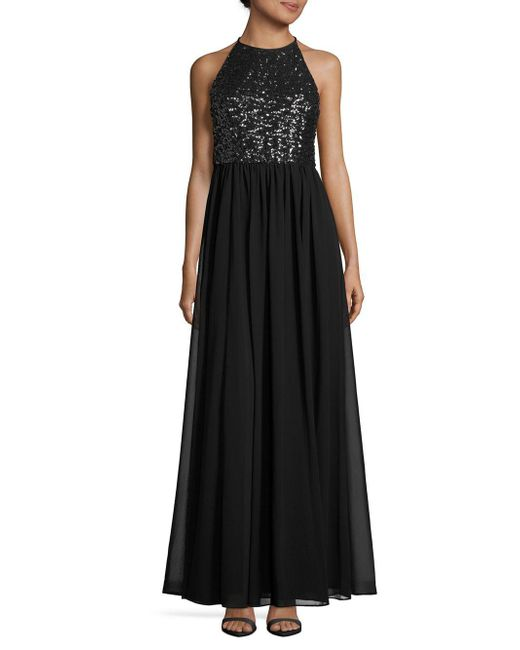 Vera Wang - Black Sequined Halterneck Gown - Lyst