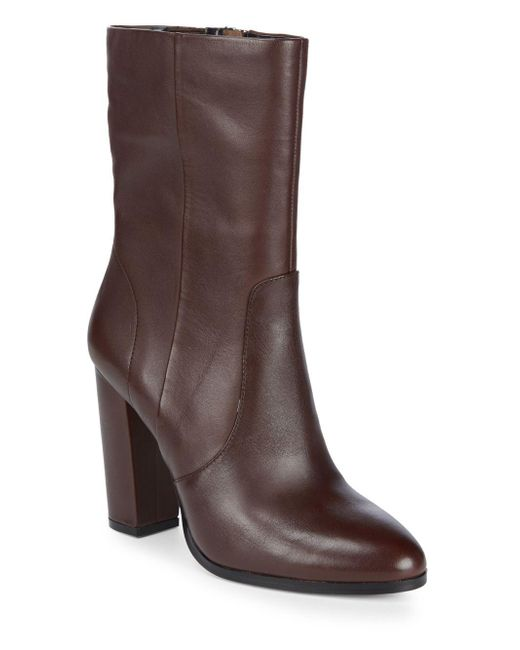 Saks Fifth Avenue - Brown Harper Leather Booties - Lyst
