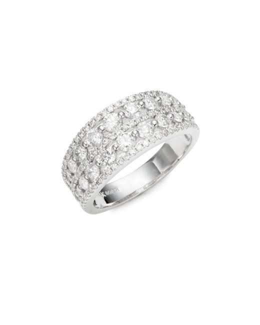 Nephora - Metallic Double Row Diamond Ring - Lyst