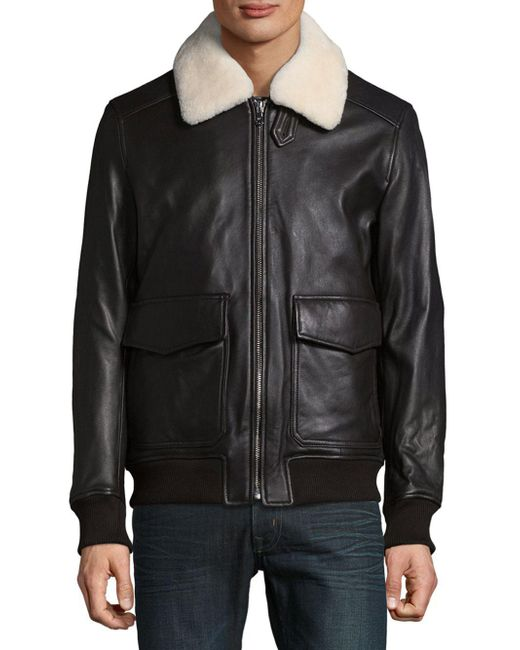 michael kors sherling touch aviator jacket in brown for. Black Bedroom Furniture Sets. Home Design Ideas