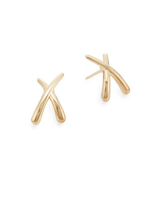 Saks Fifth Avenue - Metallic 14k Yellow Gold Criss-cross Stud Earrings - Lyst