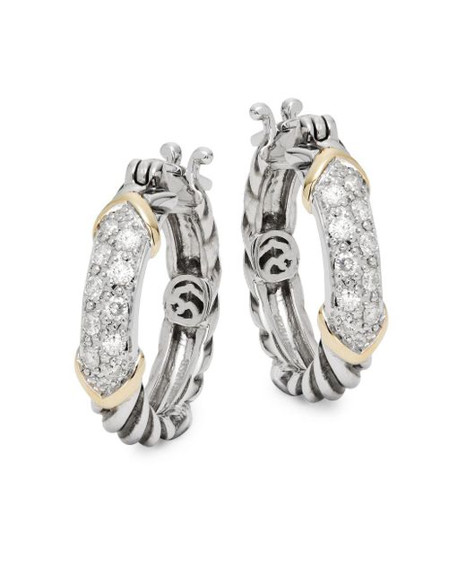 Effy - Metallic 14k Gold & Sterling Silver Diamond Hoop Earrings - Lyst