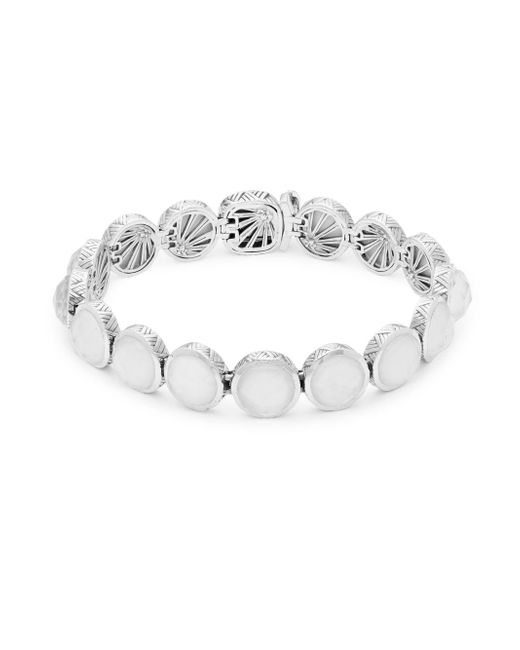 Stephen Dweck - Metallic Small Carved White Mother-of-pearl, Crystal Quartz And Sterling Silver Bracelet - Lyst