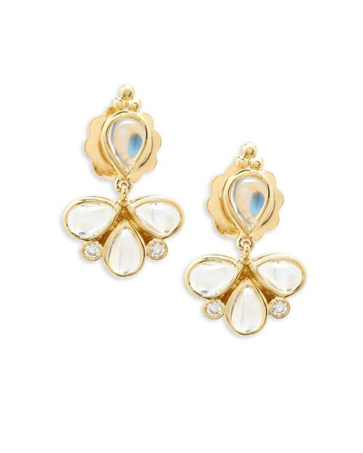 Temple St. Clair - Metallic Crystal And 18k Yellow Gold Dangle And Drop Earrings - Lyst
