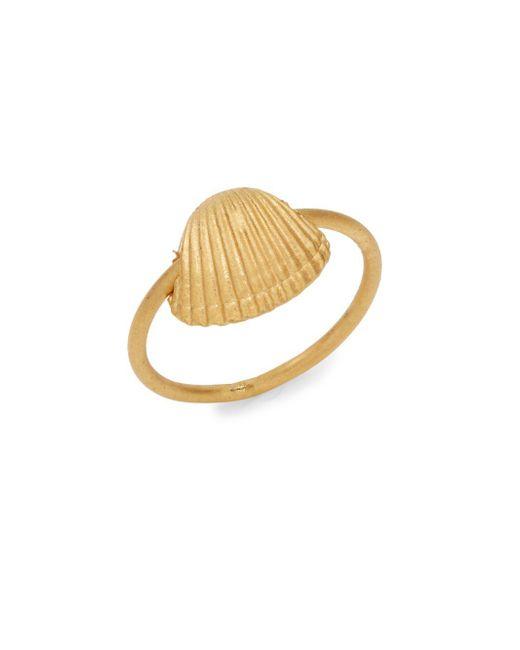 Valentino - Metallic Matte Finish Sea Shell Ring - Lyst