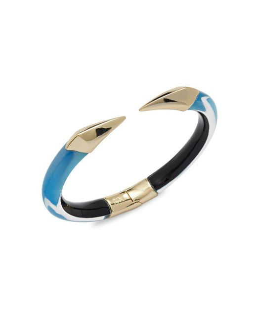 Alexis Bittar | Metallic Lucite 10k Gold-plated Hinged Bangle Bracelet | Lyst