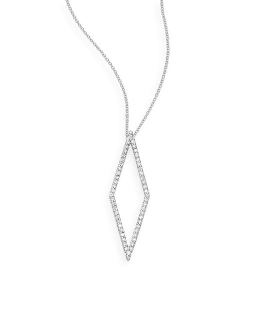 Effy - Metallic Diamond & 14k White Gold Geometric Pendant Necklace - Lyst