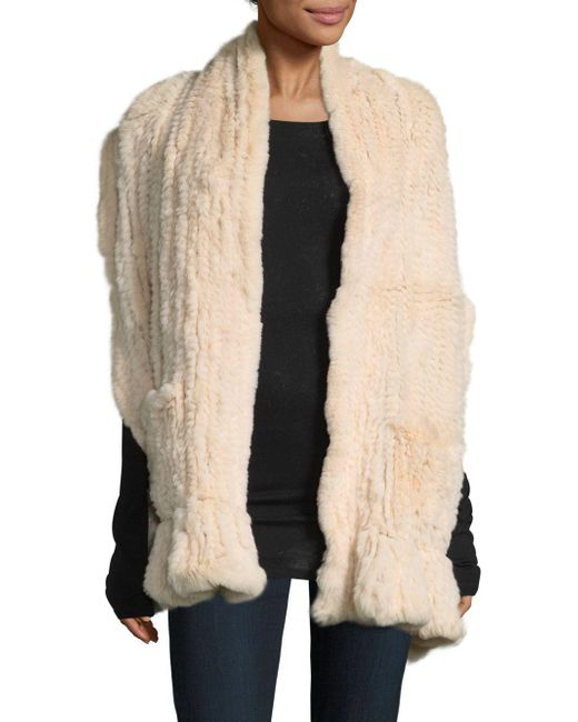 Belle Fare - Natural Knitted Rex Rabbit Scarf - Lyst