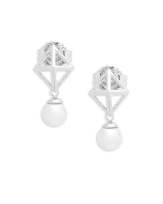 Majorica - White Round Pearl And Sterling Silver Stud Earrings - Lyst