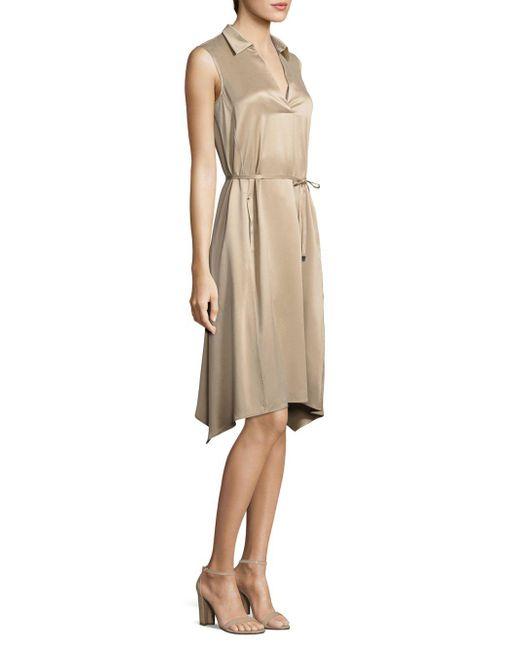 Lafayette 148 New York - Natural Sylvie Collared Silk Dress - Lyst