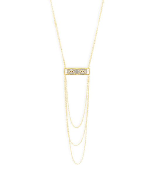Freida Rothman - Metallic Cubic Zirconia And Sterling Silver Triple Strand Necklace - Lyst
