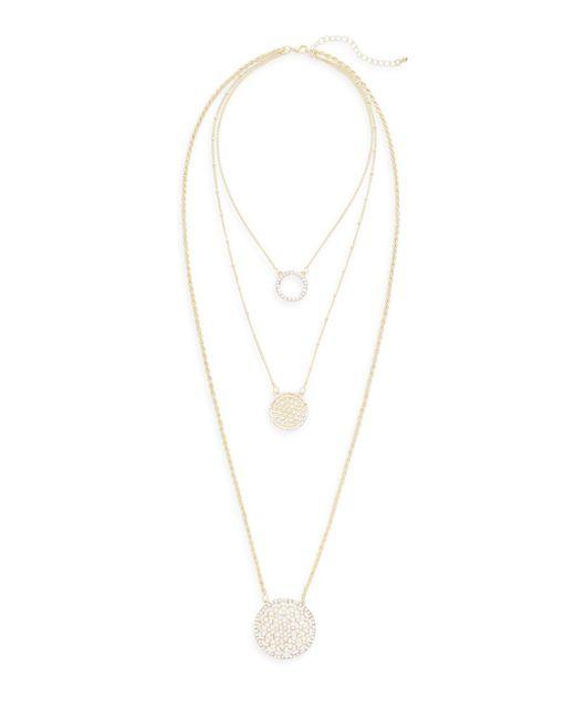 Saks Fifth Avenue | Metallic Triple-layered Crystal Pendant Necklace | Lyst