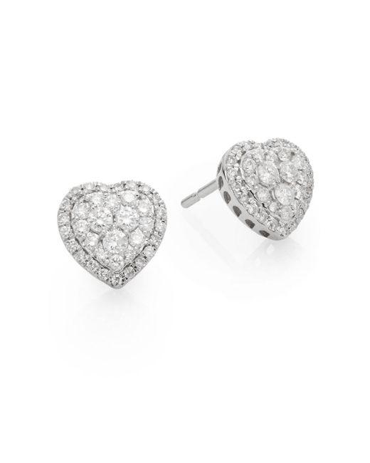 Saks Fifth Avenue | Metallic 0.51 Tcw Diamond & 14k White Gold Heart Stud Earrings | Lyst