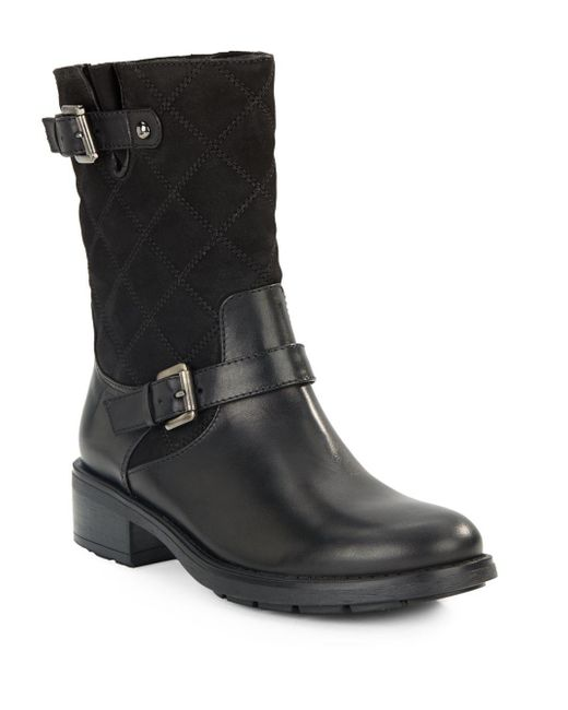 Aquatalia | Black Sherry Mid-calf Leather Moto Boots | Lyst