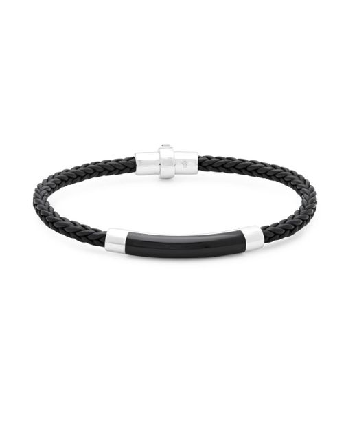 Effy - Metallic Black Agate, Sterling Silver And Leather Braided Bracelet for Men - Lyst