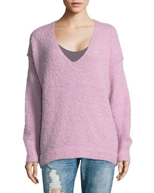 Free People - Purple Lofty V-neck Sweater - Lyst