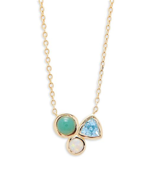 Saks Fifth Avenue - Metallic Opal, Swiss Blue Topaz And 14k Yellow Gold Pendant Necklace - Lyst
