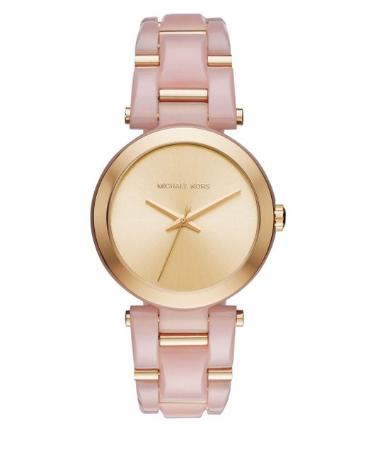 Michael Kors - Pink Delray Acetate And Goldtone Stainless Steel Bracelet Watch - Lyst