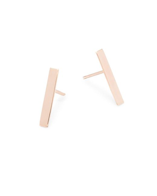 Saks Fifth Avenue - Metallic 14k Rose Gold Bar Stud Earrings - Lyst
