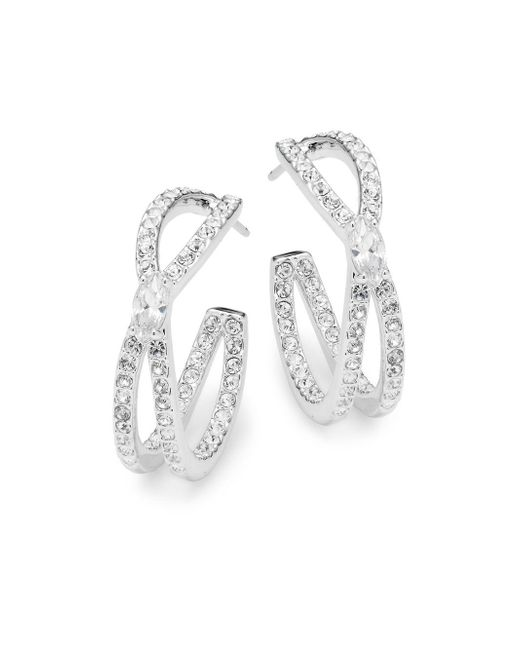 Adriana Orsini - Metallic Crystal Intertwine Hoop Earrings - Lyst