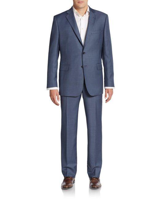 Saks Fifth Avenue - Blue Classic-fit Wool Sharkskin Suit for Men - Lyst