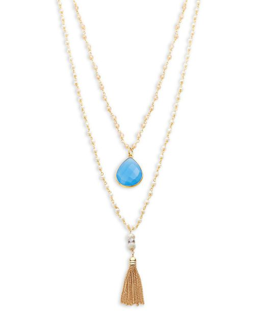 Alanna Bess - Blue 2mm White Baroque Pearl And Zircon Multi-strand Pendant Necklace - Lyst
