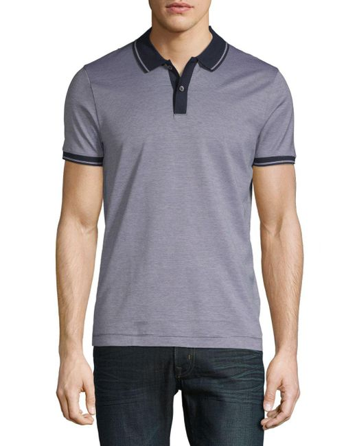 BOSS - Blue Phillipson Heathered Cotton Polo for Men - Lyst