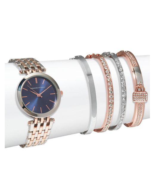 Adrienne Vittadini | Multicolor Two-tone Watch & Crystal Bracelet- Set Of 5 | Lyst