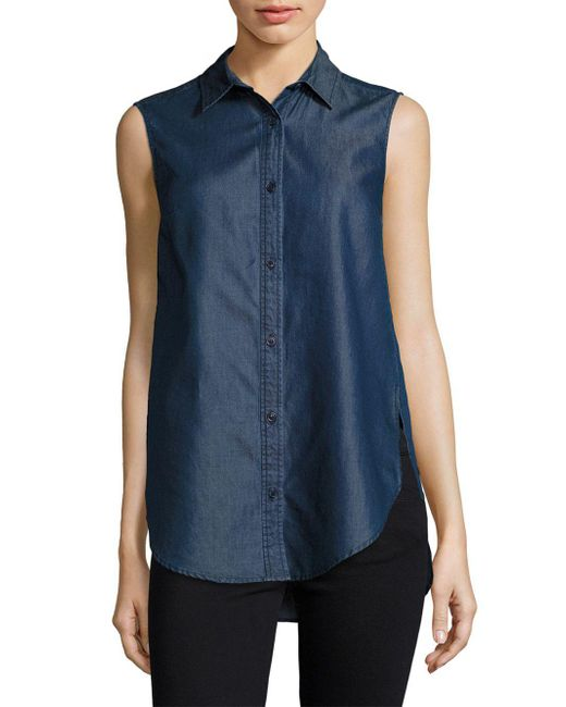 French Connection - Blue Chambray Top - Lyst