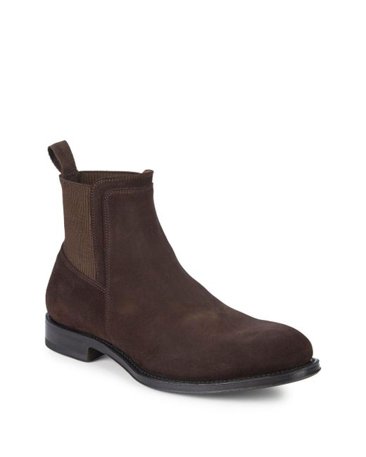 Aquatalia - Brown Varick Suede Chelsea Boots for Men - Lyst