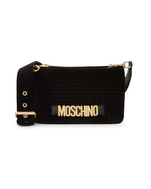 dc0d4997cd18e Moschino - Black Logo Velvet Crossbody Bag - Lyst ...