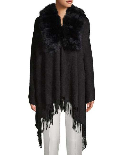 Belle Fare Black Dyed Fox Fur Trim Open-front Poncho