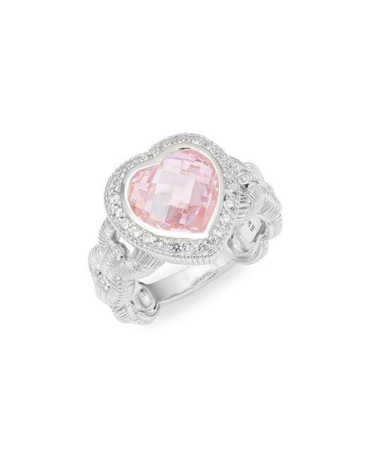 Judith Ripka - Metallic Fontaine Sterling Silver Pink Crystal & White Topaz Heart-shaped Ring - Lyst