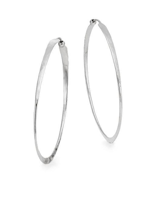"Saks Fifth Avenue | Metallic Sterling Silver Oval Hammered Twist Hoop Earrings/2"" | Lyst"