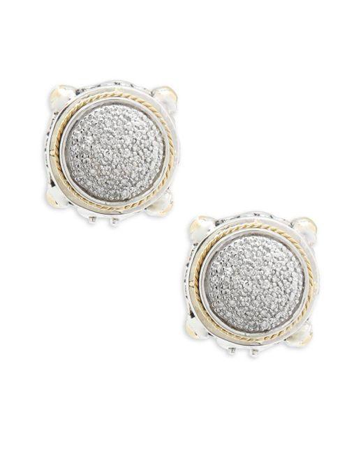 Effy - Metallic 18k Yellow Gold & Diamonds Round Earrings - Lyst