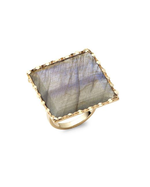 Lana Jewelry - Blue Gloss Studded Gold Ring - Lyst