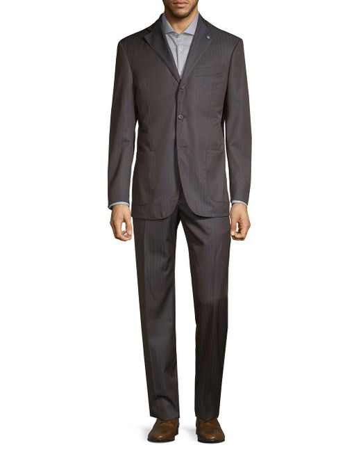 Eidos - Brown Striped Wool Suit for Men - Lyst