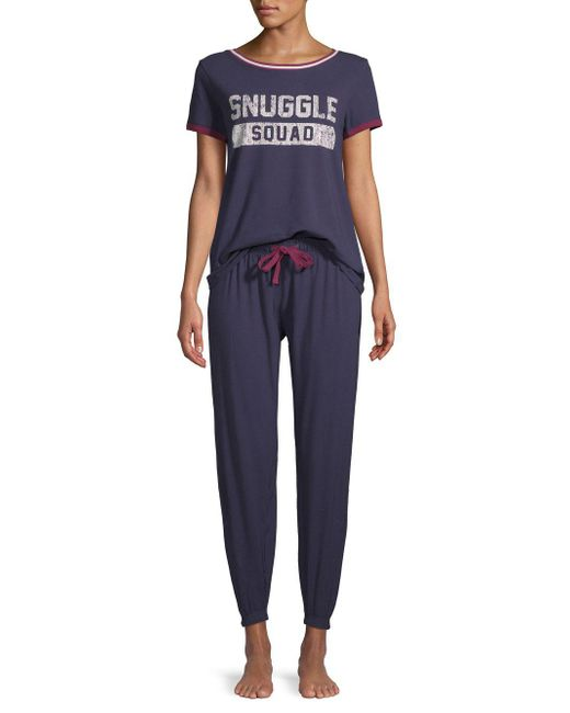 Jane And Bleecker - Blue Two-piece Snuggle Squad Pajamas - Lyst