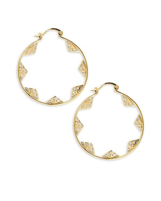Noir Jewelry - Metallic Cz-studded Hoop Earrings- 1.75in - Lyst